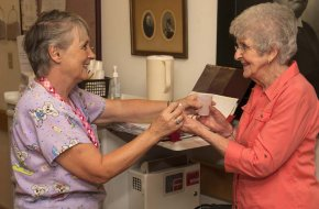Residents receive daily assistance with meds