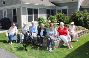 Residents enjoy sitting outside during nice weather