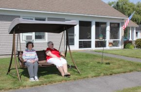 Our Residents enjoy sitting and visiting on our shaded swings